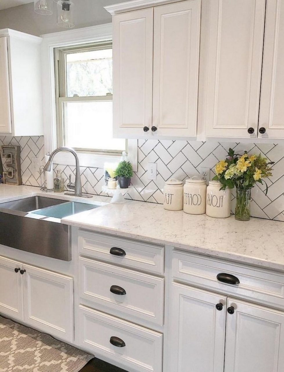 23 White Kitchen Stainless Farmhouse Sink Herringbone Backsplash