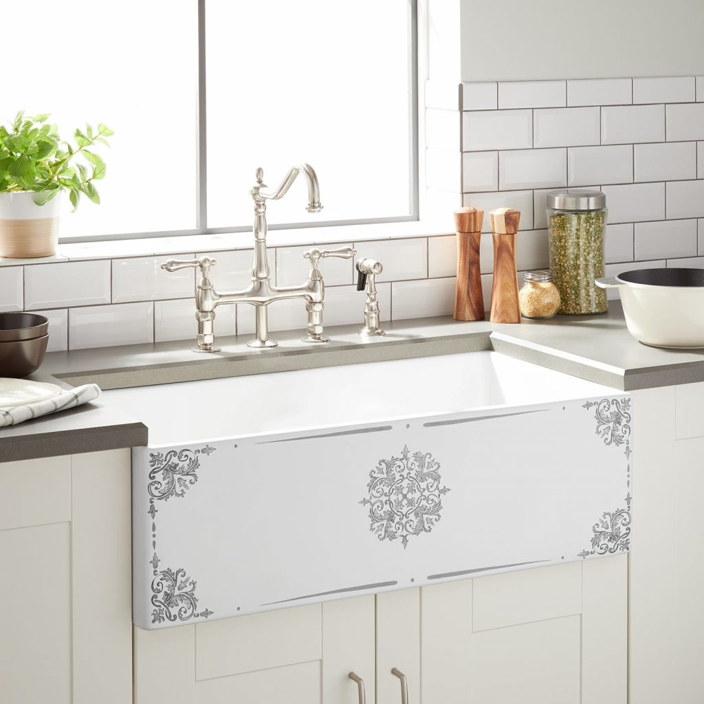 30 Corso Fireclay Farmhouse Sink Gray Motif Kitchen