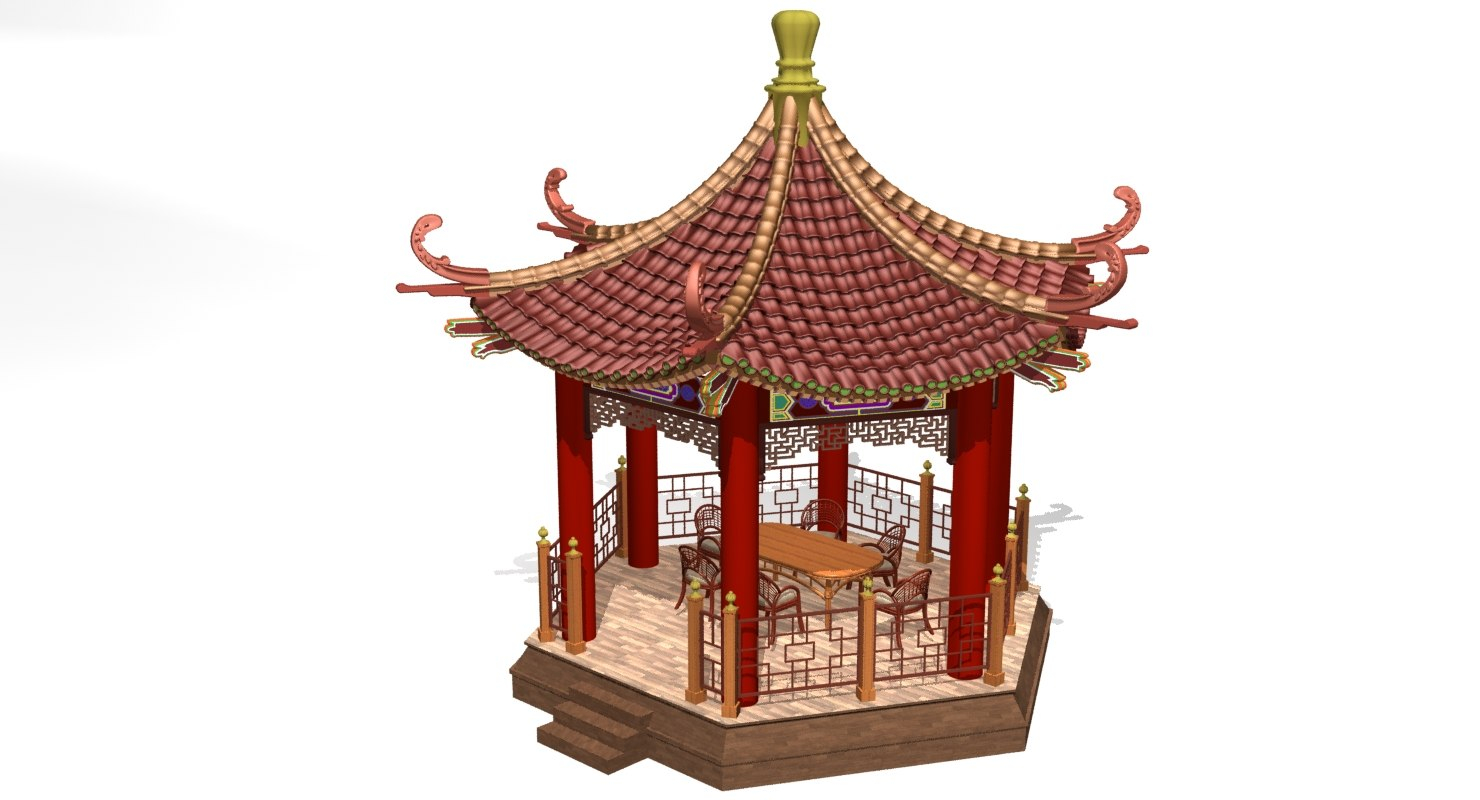 3d Chinese Gazebo Turbosquid 1288356