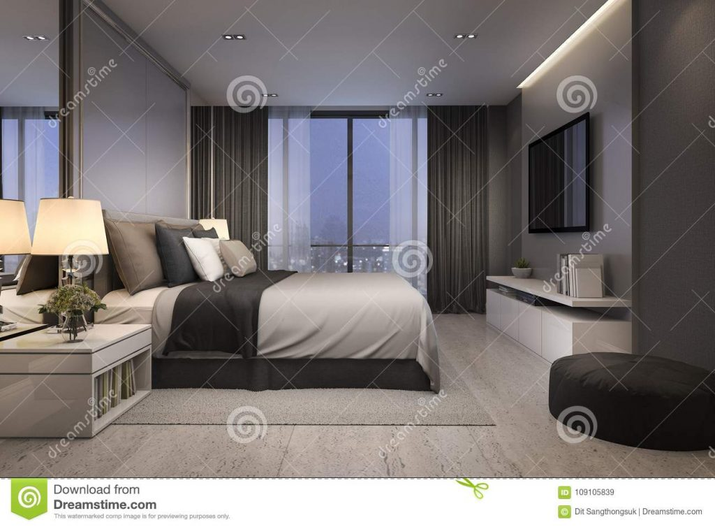 3d Rendering Modern Luxury Bedroom Suite At Night With Cozy Design