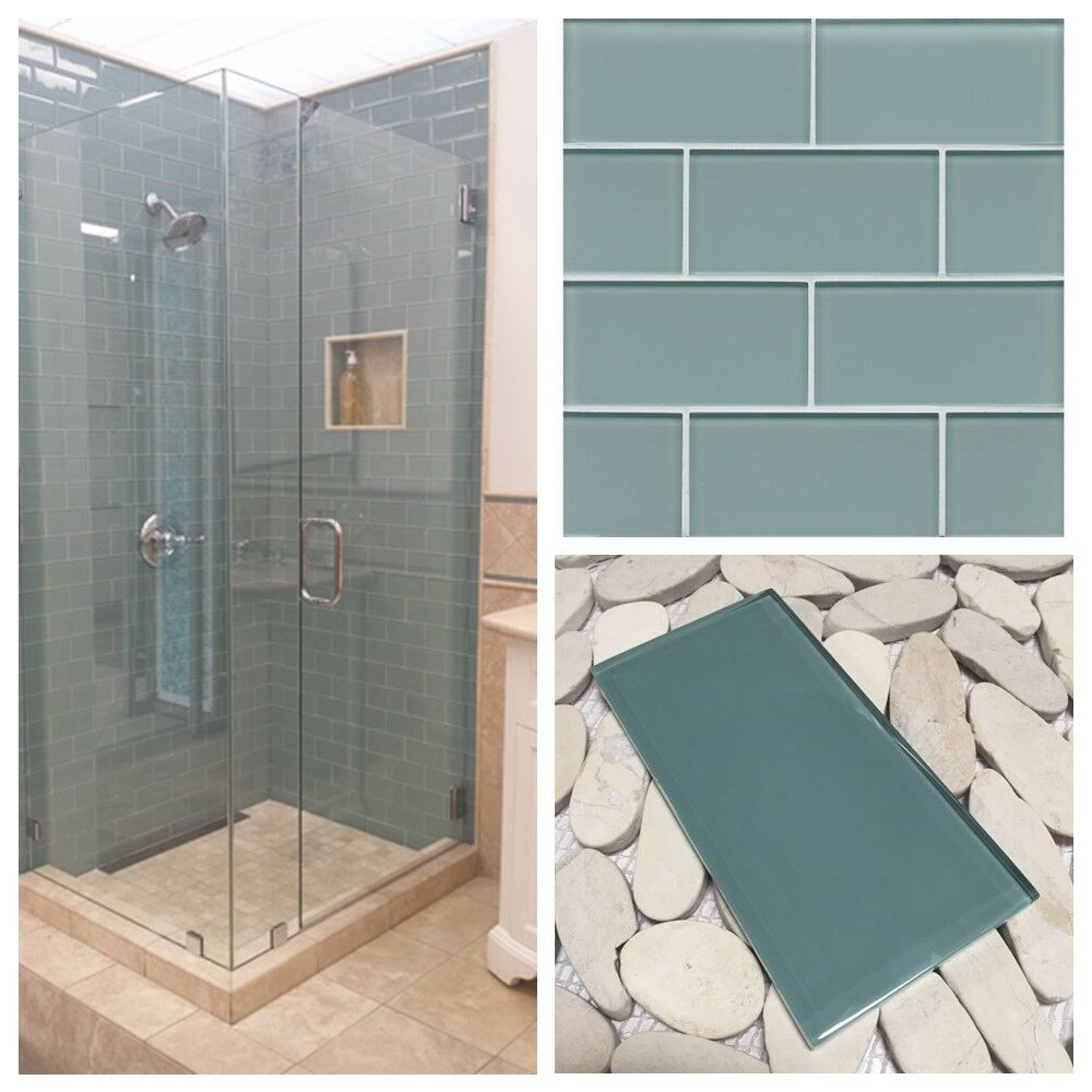3x6 Sea Blue Crystal Glass Subway Tile For Kitchen Bathroom Shower