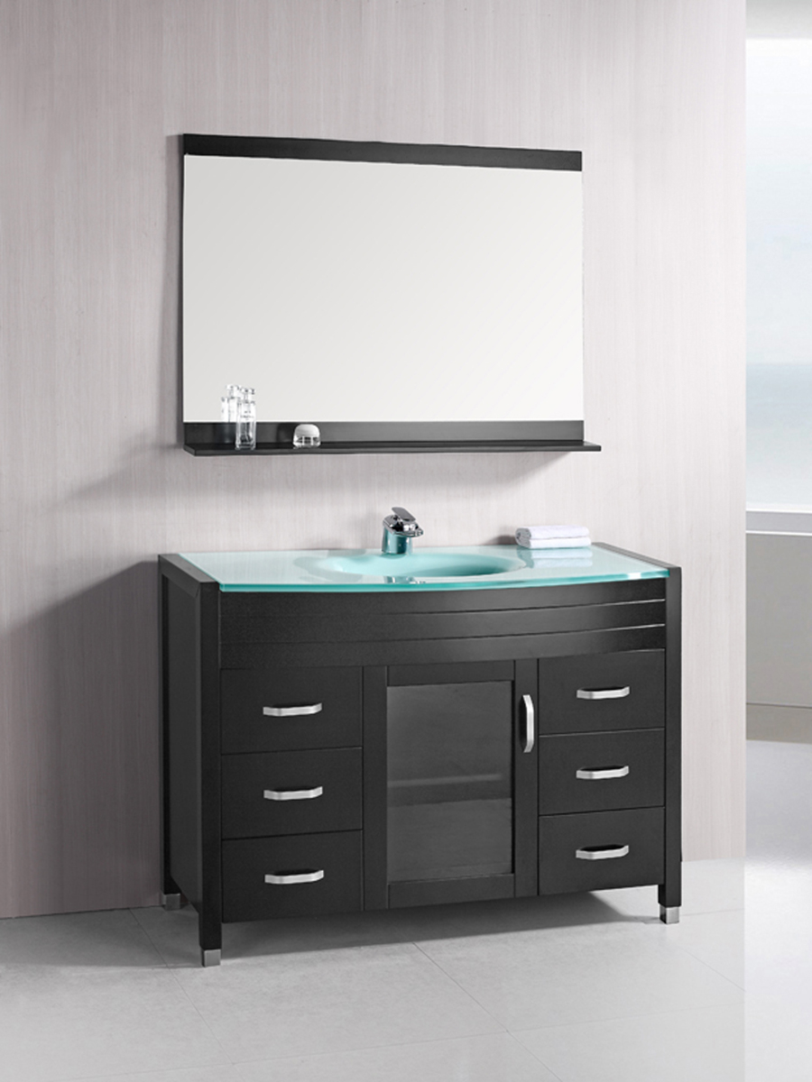 48 Waterfall Single Bath Vanity Glass Top Bathgems