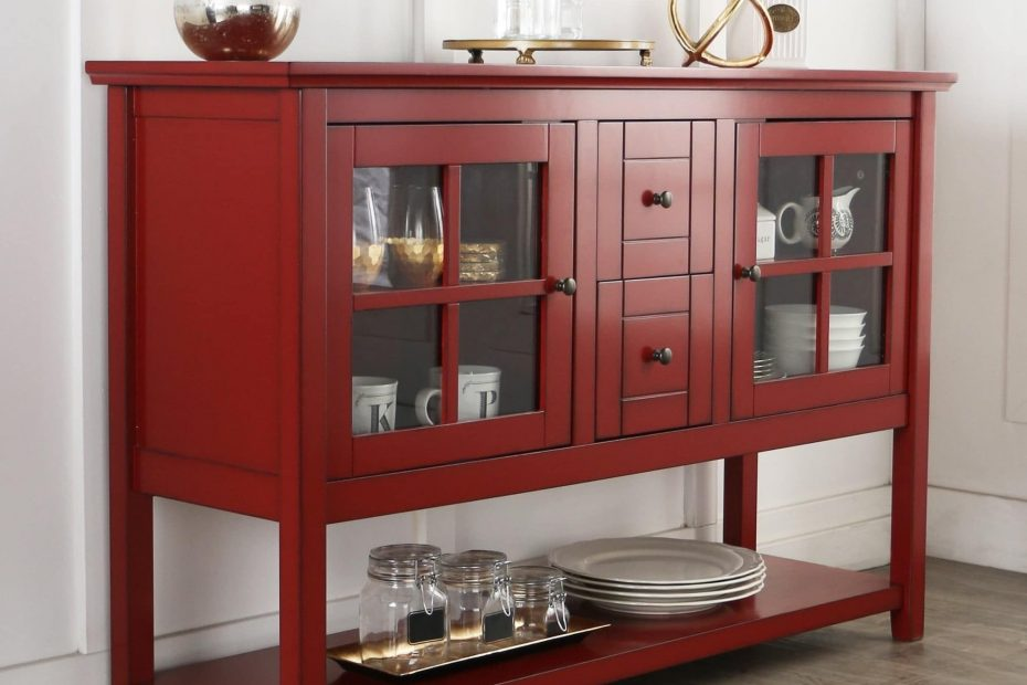 52 Inch Antique Red Wood Console Table Buffet 52 Antique Red Wood