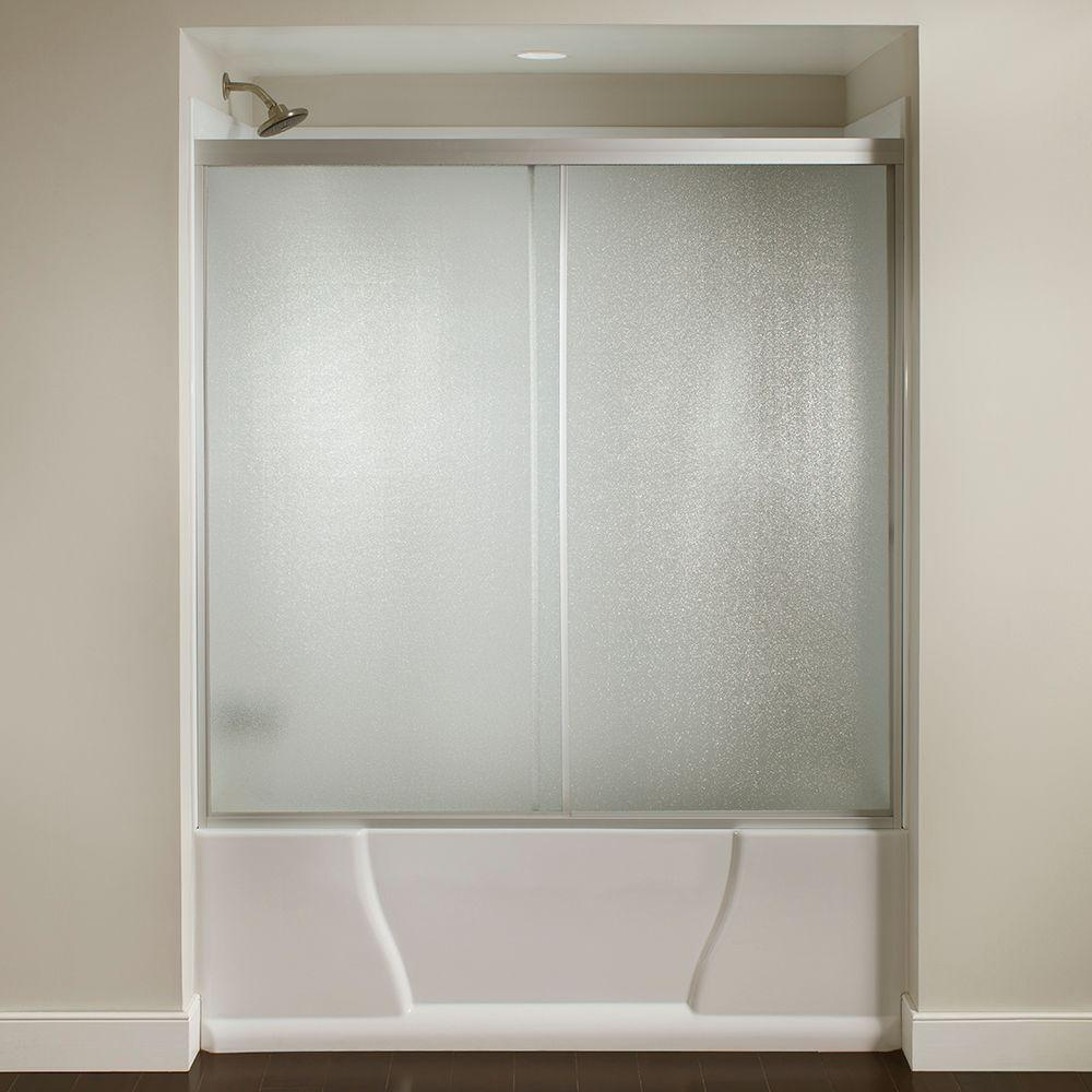 60 In X 56 38 In Framed Sliding Bathtub Door Kit In Silver With Pebbled Glass