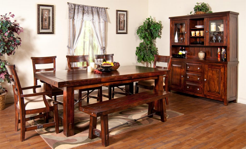7 Piece Extension Table With Chairs And Bench Set Sunny Designs