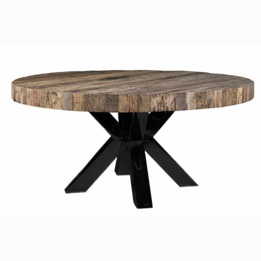 8 Seater Reclaimed Fir Wood Round Dining Table 1600mm Black Steel