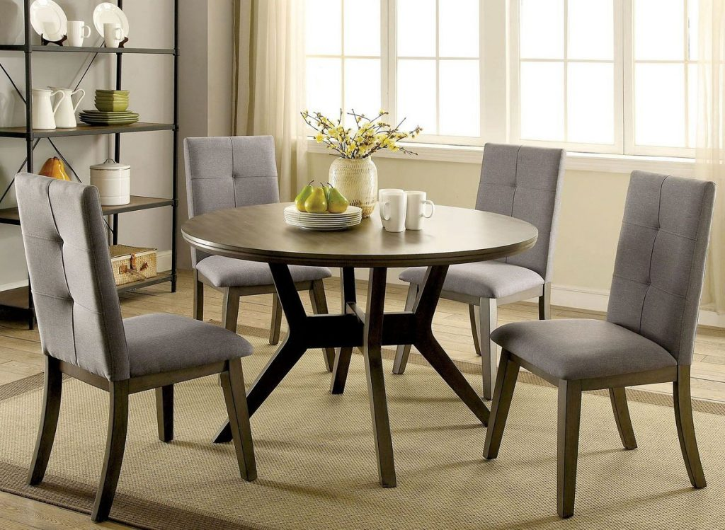 Abelone Round Dining Room Set Gray Furniture Of America