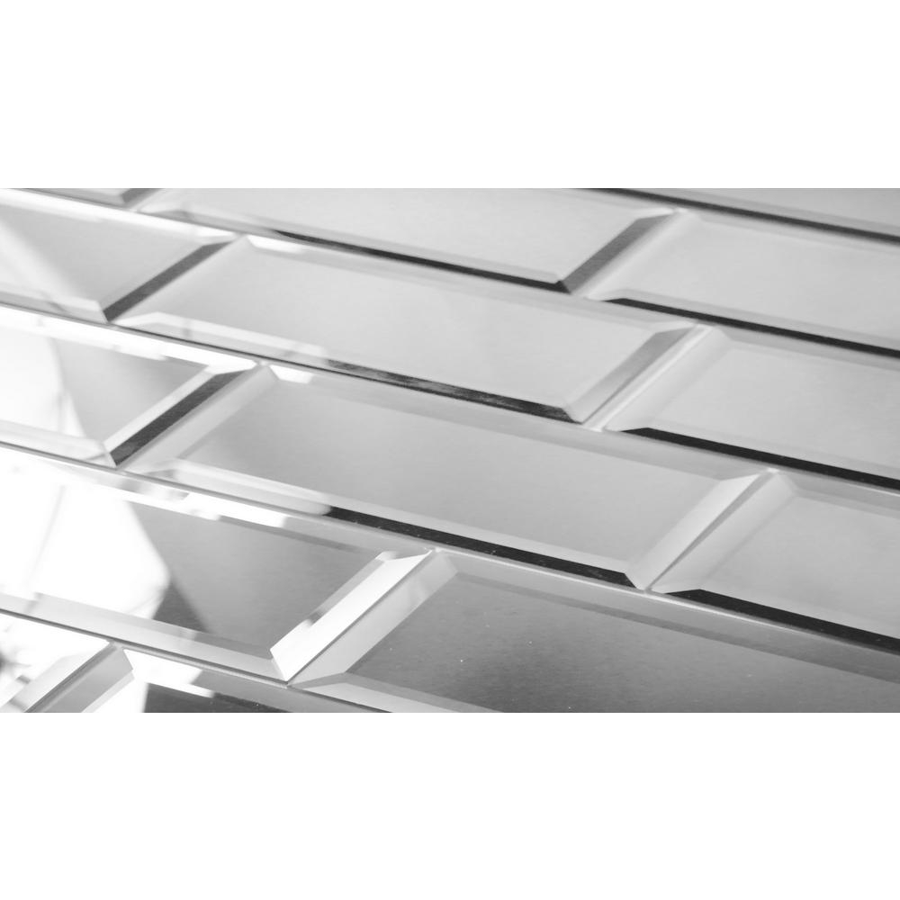 Abolos Subway 3 X 12 Silver Gray Beveled Glossy Glass Mirror Peel