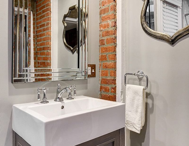 Adjust The Exposed Brick Wall Section To The Size Of The Bathroom