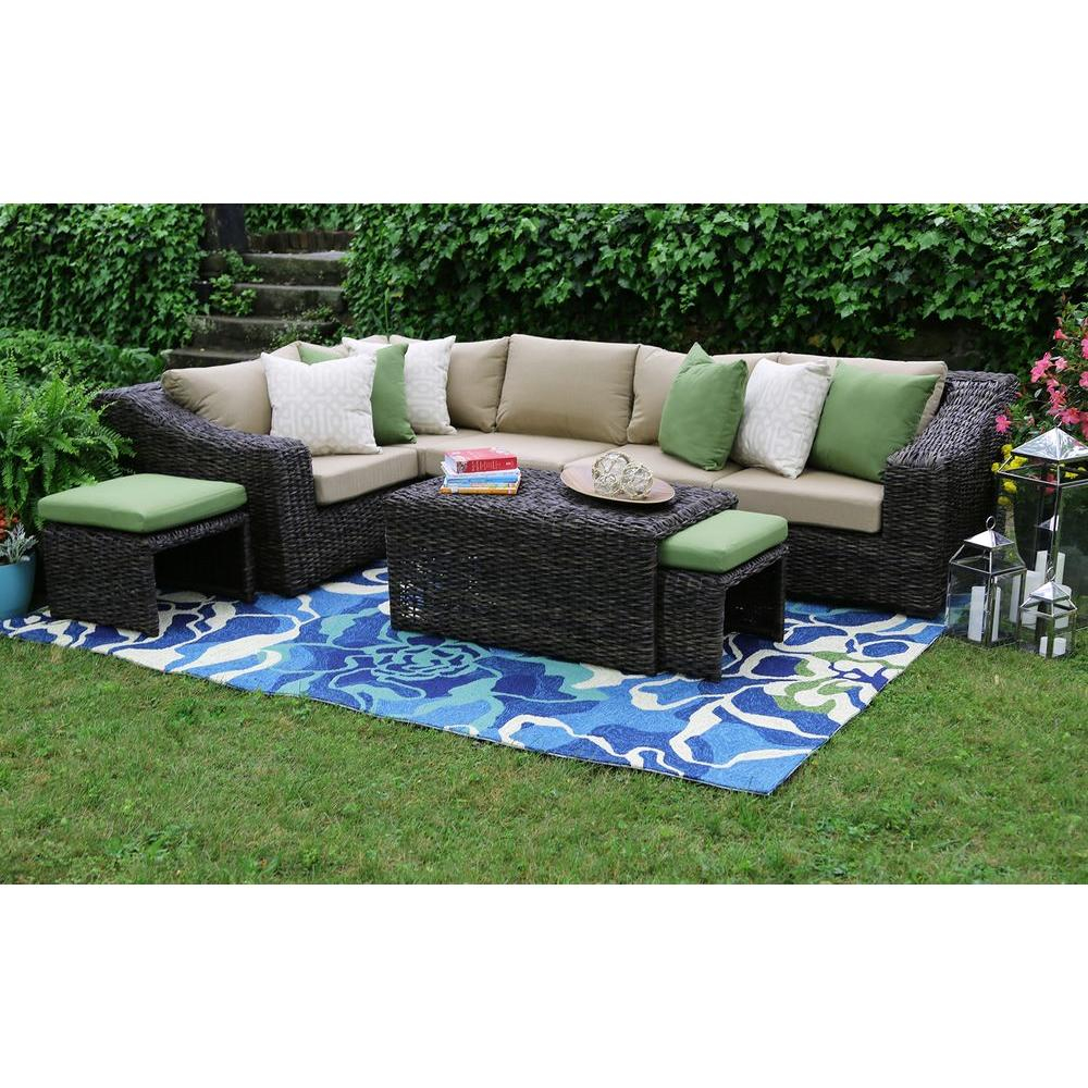 Ae Outdoor Williams 8 Piece All Weather Wicker Patio Sectional Set