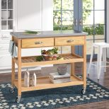 Alcott Hill Drumtullagh Kitchen Cart With Stainless Steel Top