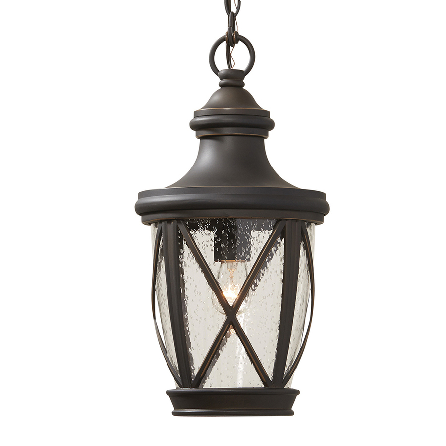 Allen Roth Castine Rubbed Bronze Single Traditional Seeded Glass