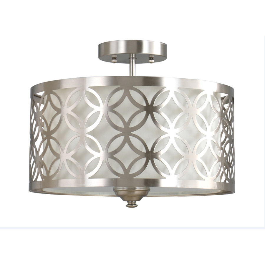 Allen Roth Earling 15 In W Brushed Nickel Fabric Semi Flush Mount