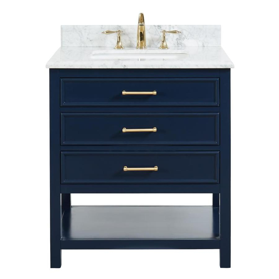 Allen Roth Presnell 31 In Navy Blue Single Sink Bathroom Vanity