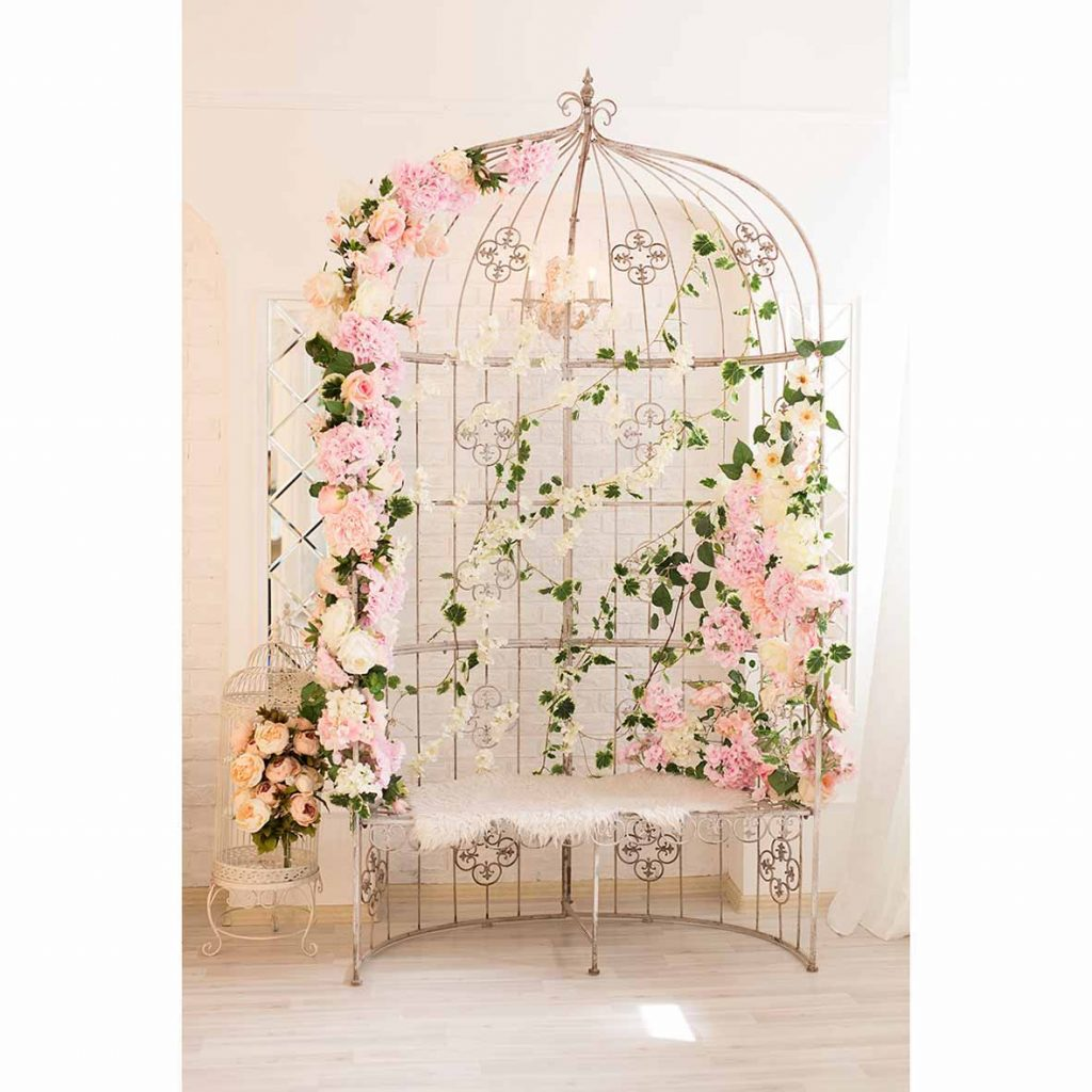 Allenjoy Photo Background Big Bird Cage Flowers Chair Wooden Floor