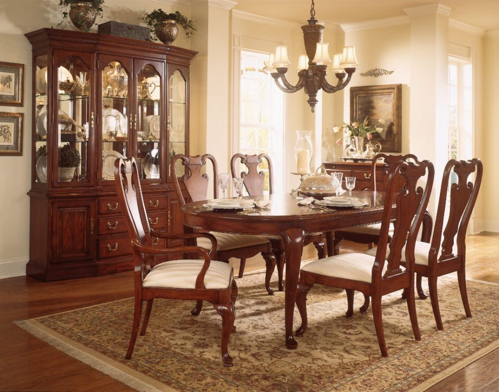 American Drew Cherry Grove Dining Room Oval Leg Table Set In Classic