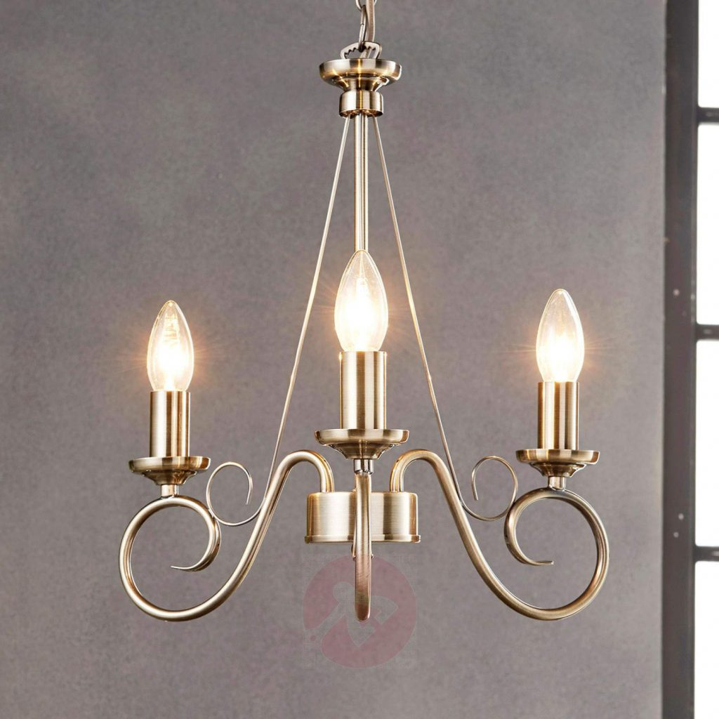 Antique Brass Chandelier Marnia 3 Bulb Lightsie