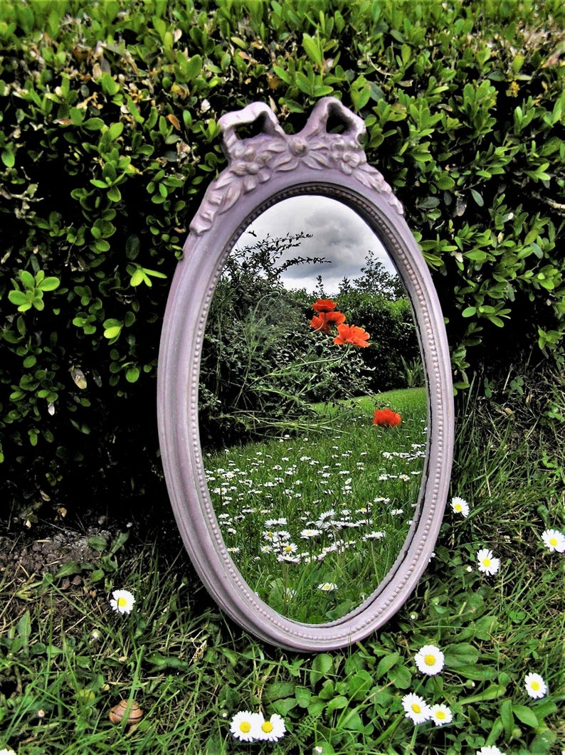 Antique Oval Mirror Shab Romantic Revamped Vintage Wall Etsy