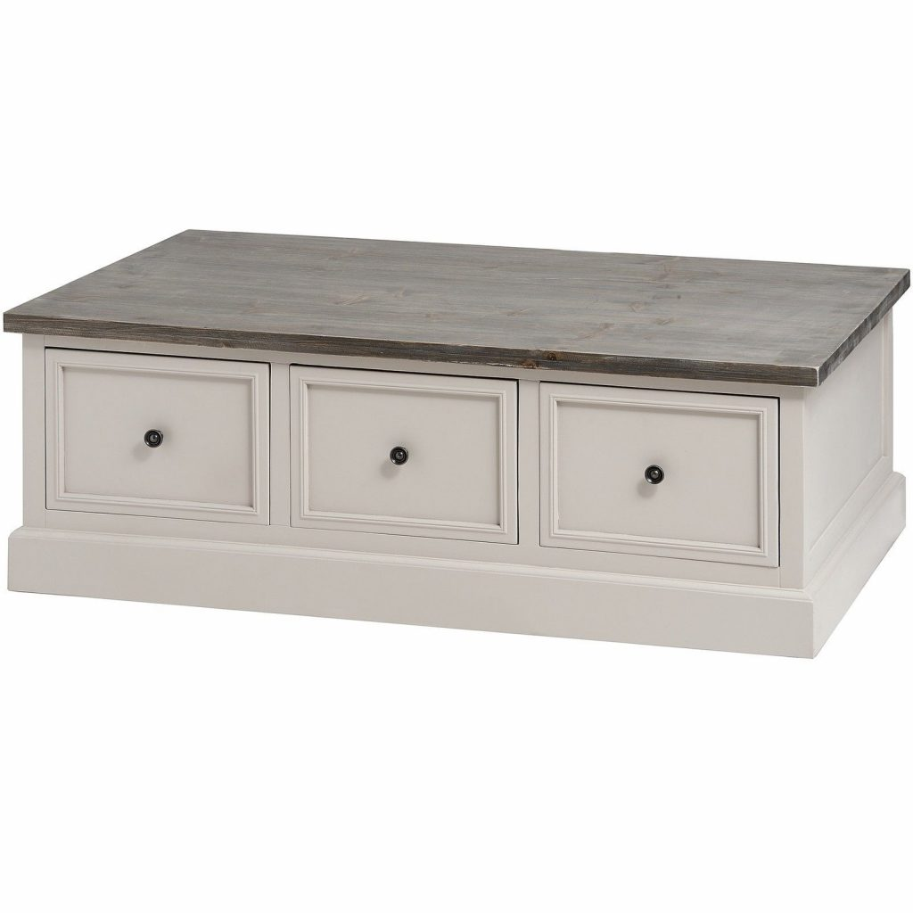 Antique Shab Chic Mushroom Grey Coffee Table With Storage Living