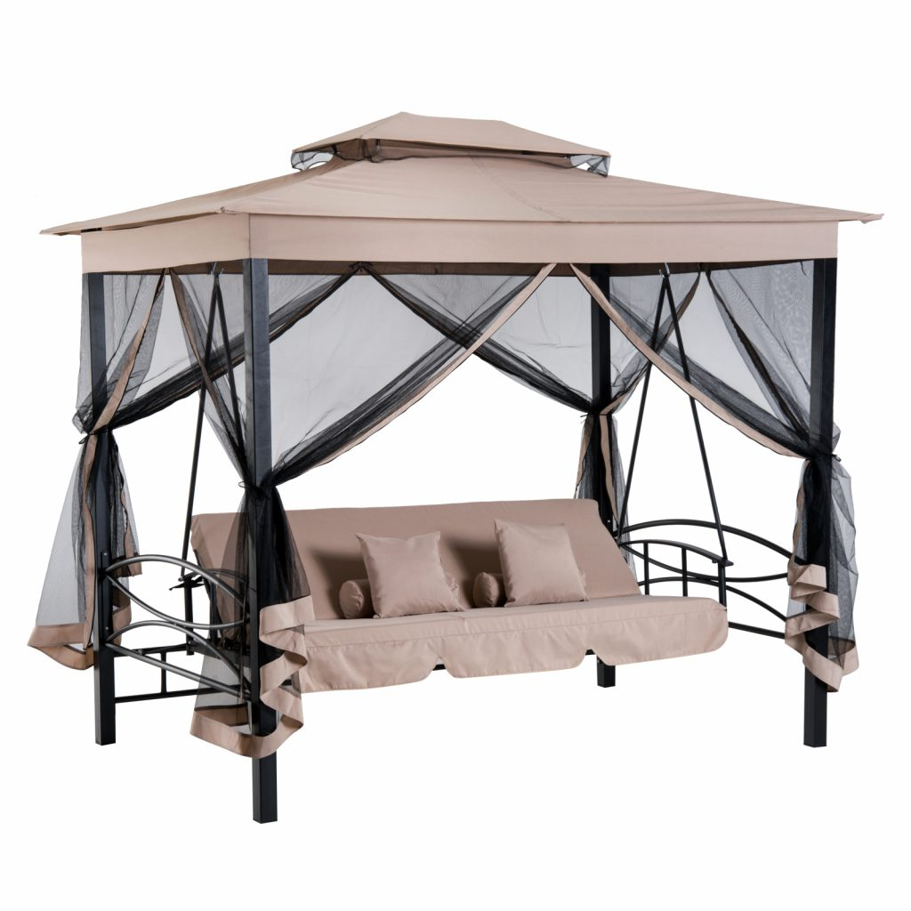 Aosom Outsunny 3 Person Outdoor Patio Daybed Canopy Gazebo Swing
