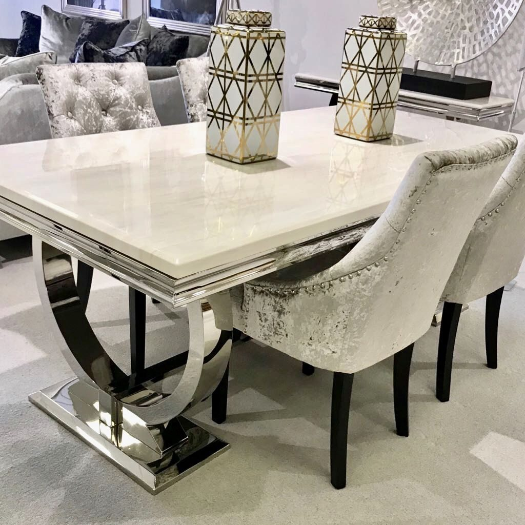 Arianna Cream Marble Dining Table With Steel Legs