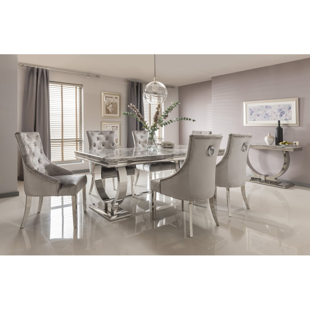 Arianna Marble Dining Table Set In Grey Dining Room From Breeze