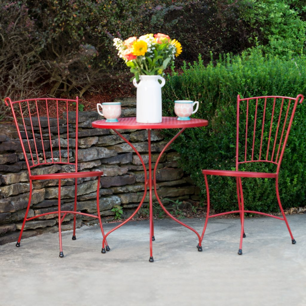 Arlington House Red Wrought Iron 24 Round Outdoor Bistro Set Patio