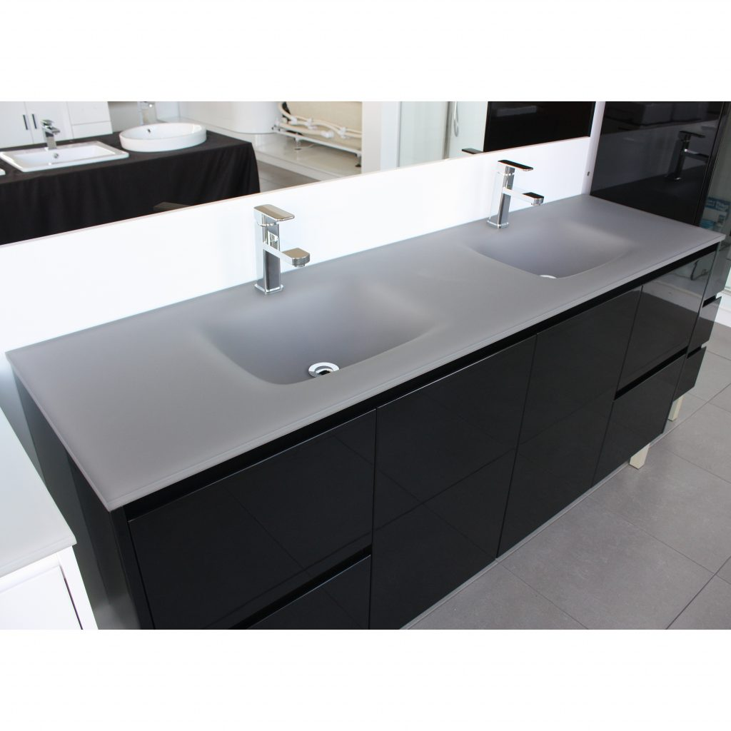 Aurora Matte Grey Double Bowl Glass Vanity Top 1800mm Highgrove