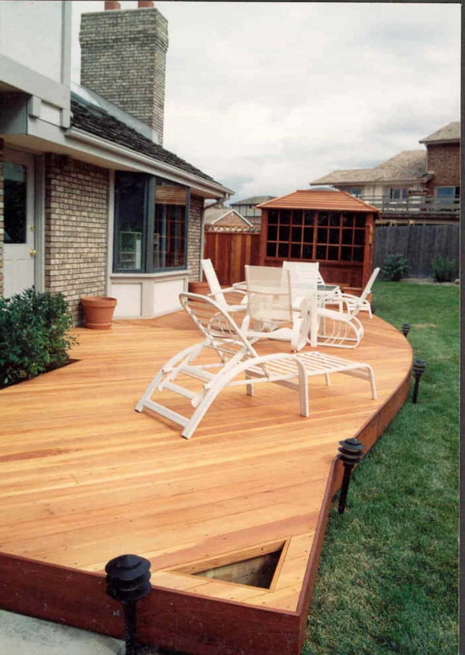Backyard With Wooden Redwood Decking Different Types Of Decking
