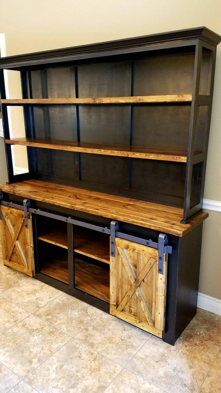 Barn Door Hutch And Buffet Solid Wood Farmhouse Rustic Etsy