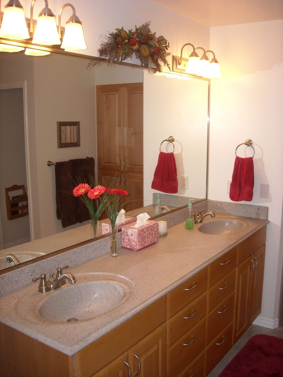 Bathroom Remodel Jack And Jill Sinks With Double Light Sets And