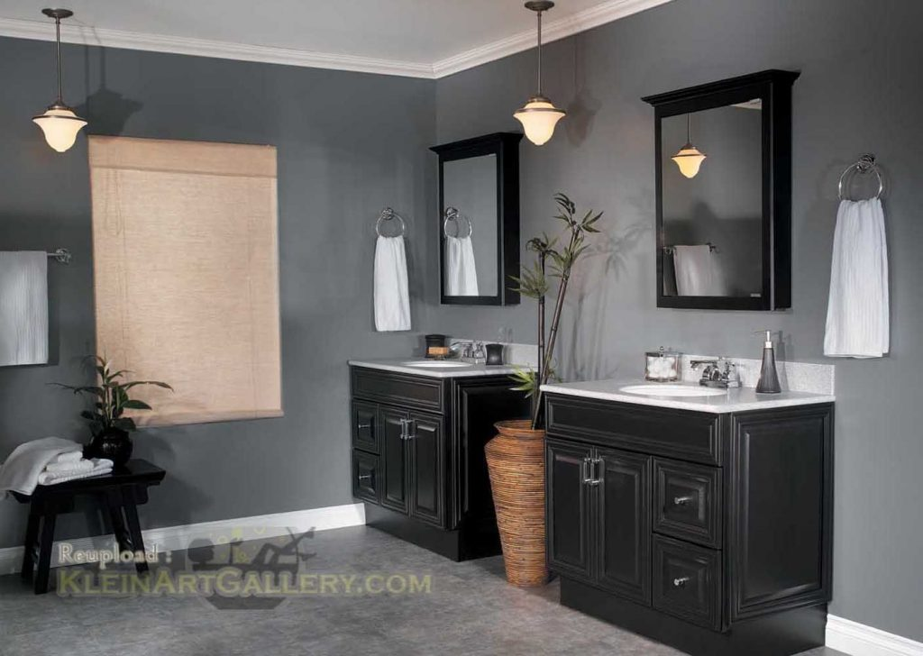 Bathroom Wall Color With Dark Cabinets Black High Gloss Cabinet