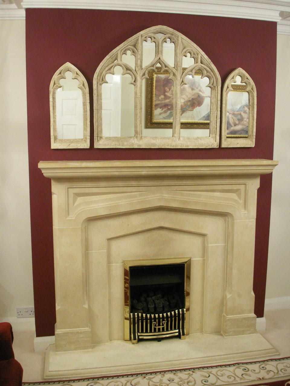 Beautiful Gothic Church Window Arch Mirror Overmantle Home Decor