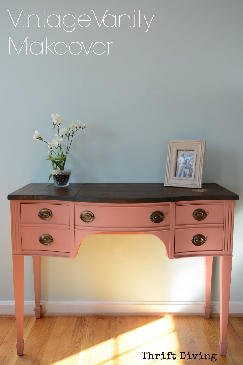 Before And After Makeover Of A Vintage Vanity Thrift Diving Blog