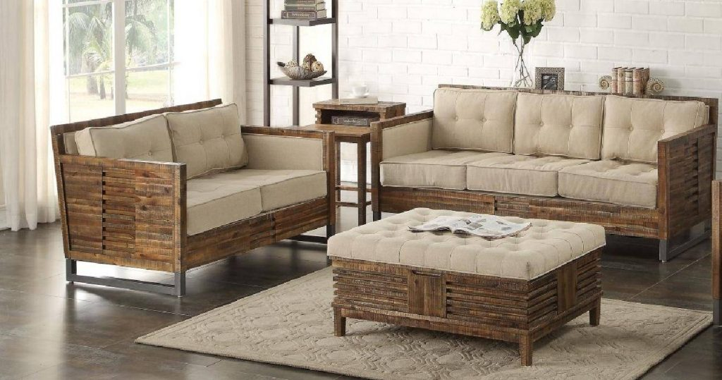 Beige Linen And Reclaimed Oak Living Room Set 2pcs Acme Furniture