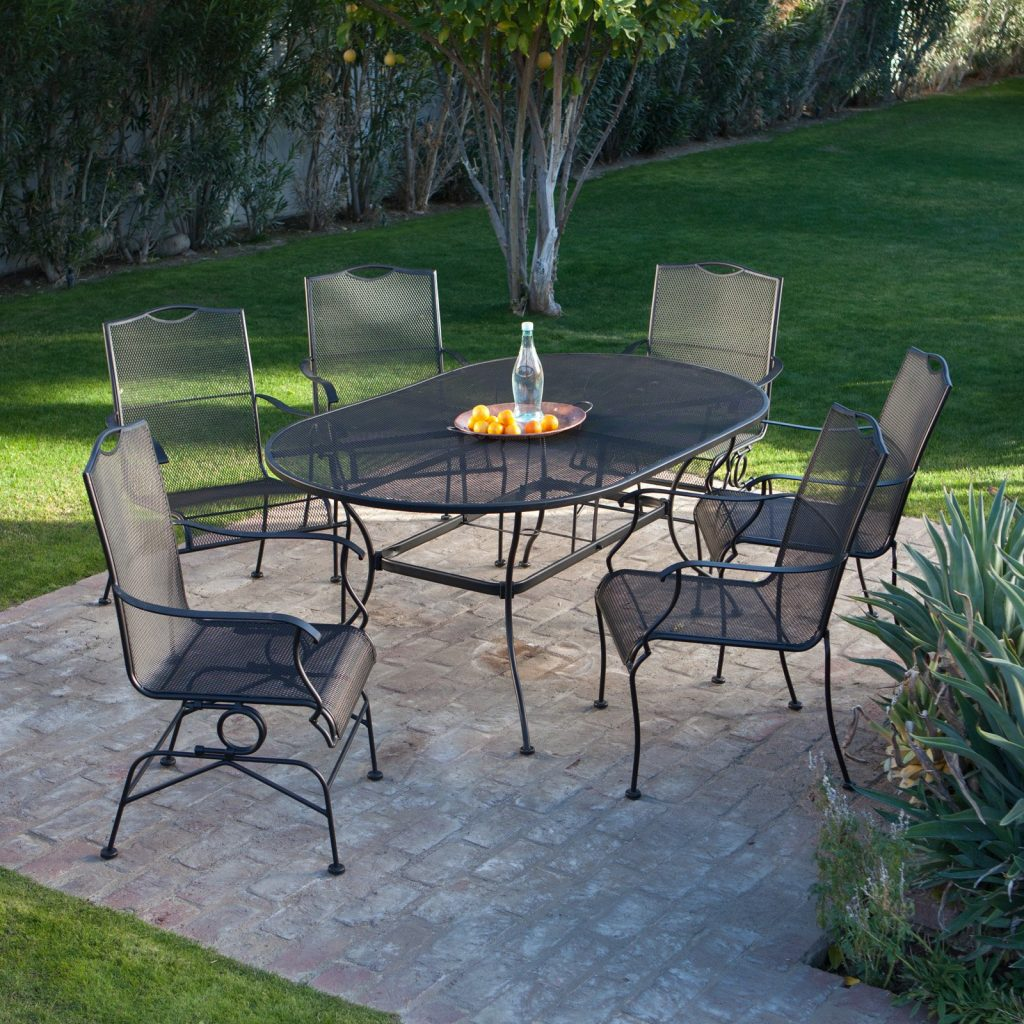 Belham Living Stanton Wrought Iron Dining Set Woodard Seats 6
