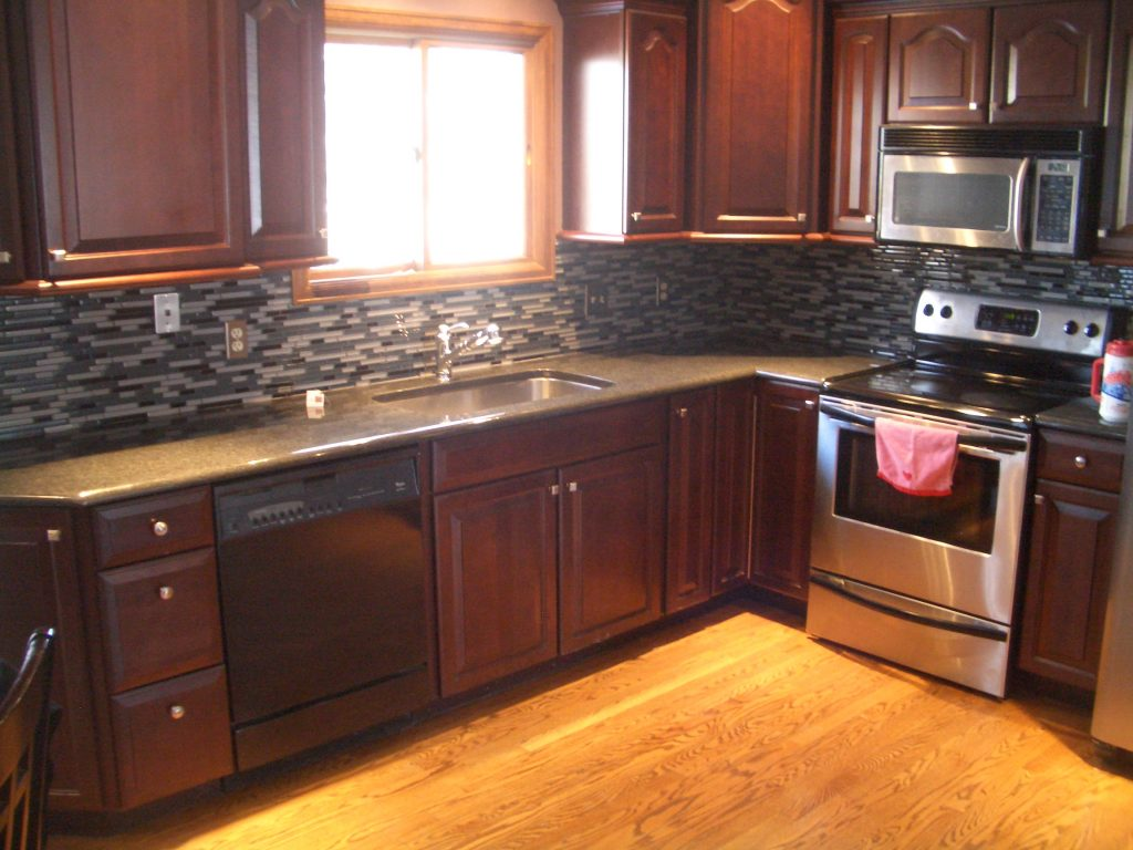 Best Dark Brown Varnished Wood L Shaped Kitchen Cabinet Come With