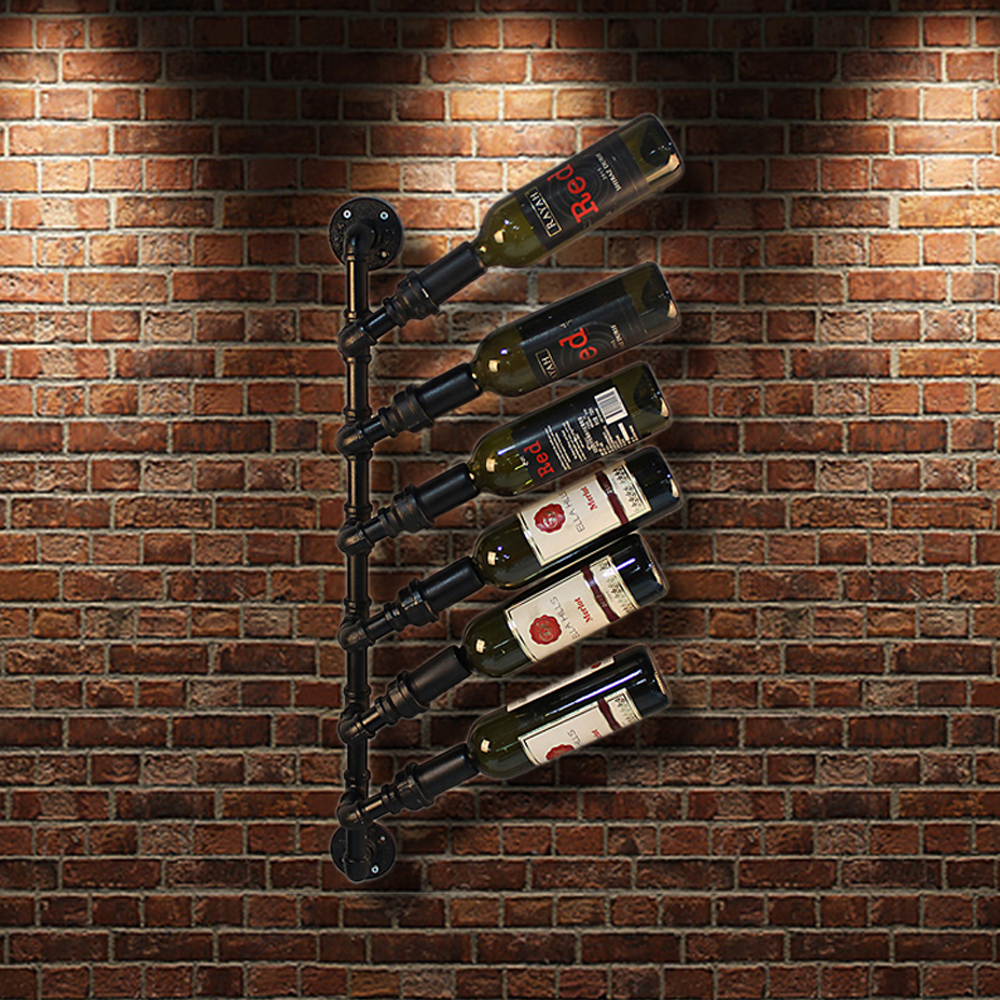 Black Ikayaa Industrial 6 Bottle Wall Mount Wine Rack Lovdock