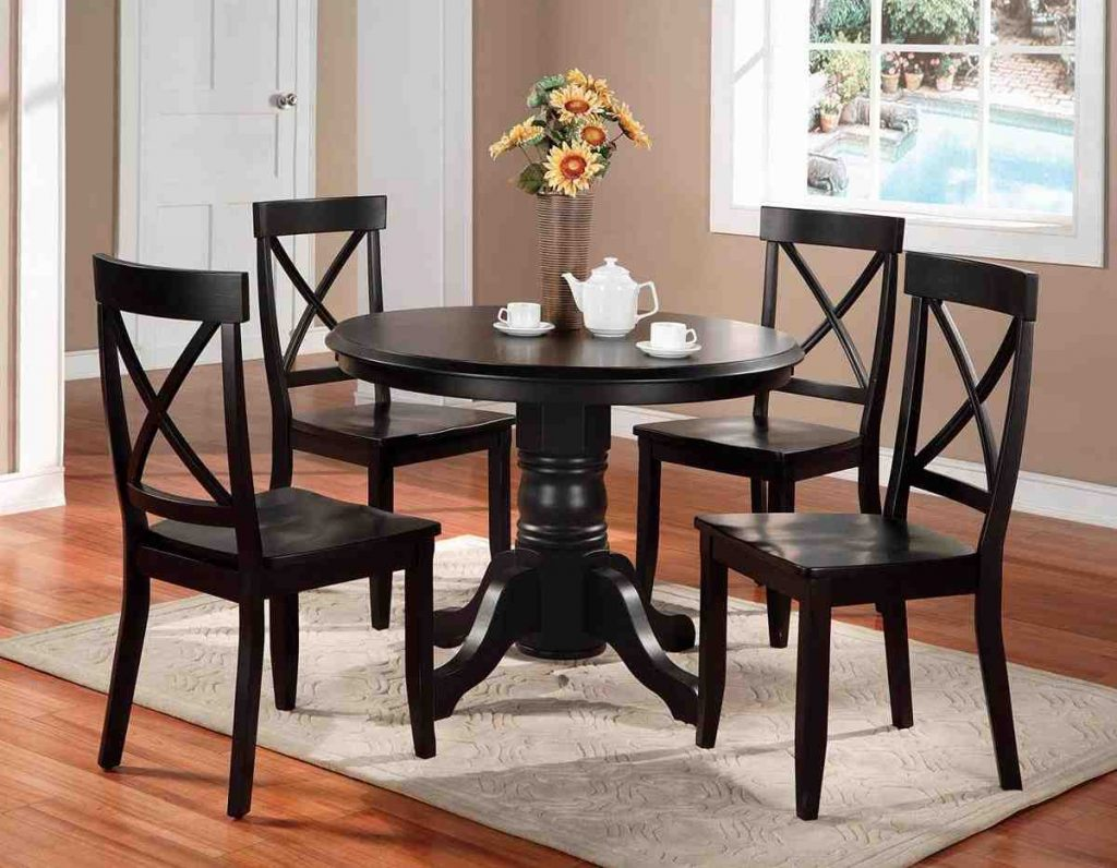 Black Round Dining Table And Chairs Home Furniture Design