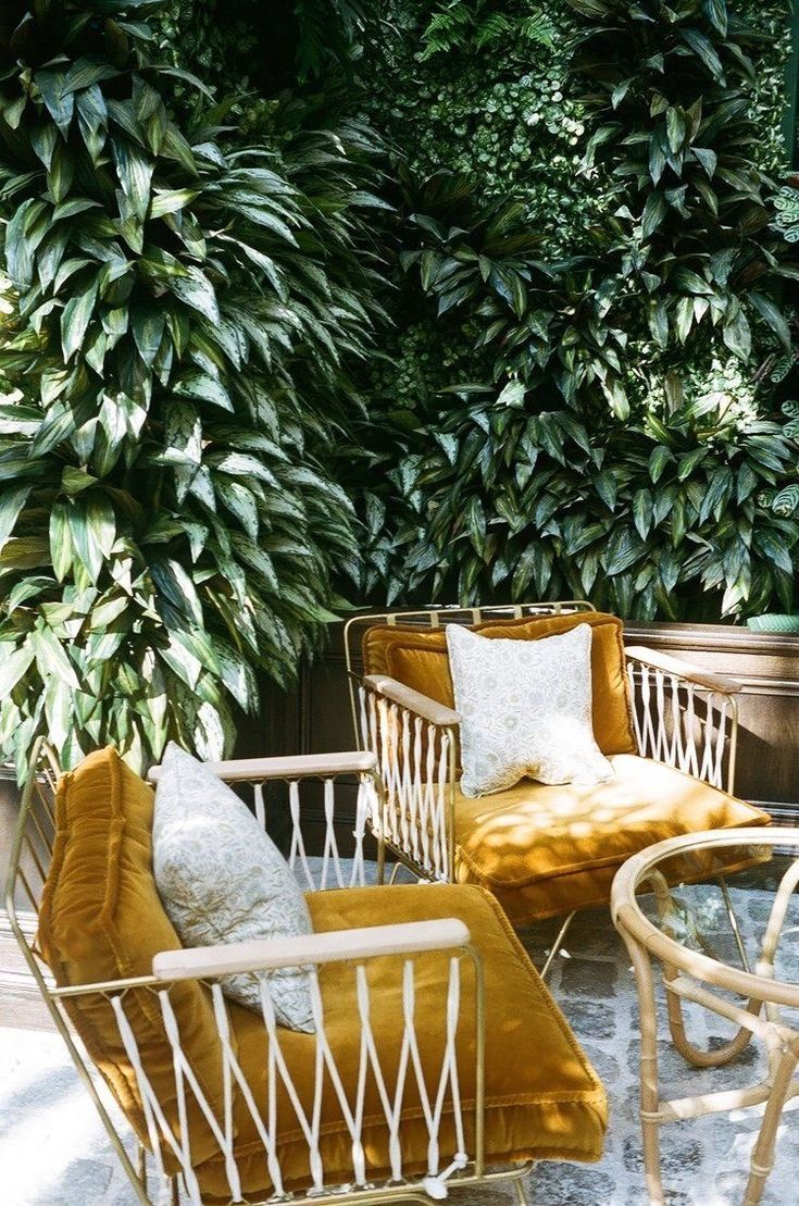 Bohemian Patio Decor Ideas These Can Chairs Those Mustard Cushions