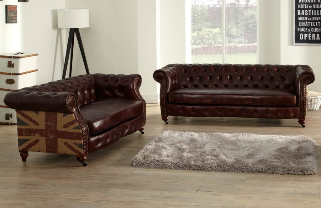 Brown Leather 3 2 Seater Chesterfield Union Jack Sofa Set With