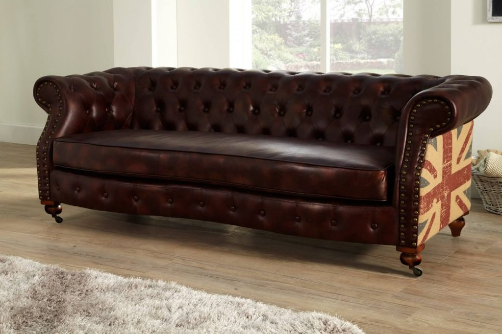 Brown Leather 3 Seater Chesterfield Union Jack Sofa With Faded Flag