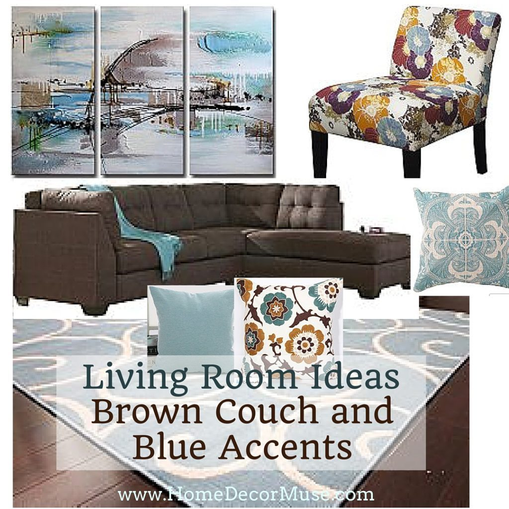 Brown Sectional Sofa Plus Blue Living Room Inspiration Home Decor Muse