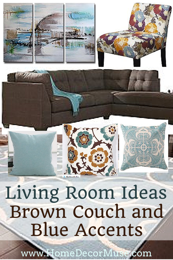 Brown Sectional Sofa Plus Blue Living Room Inspiration House