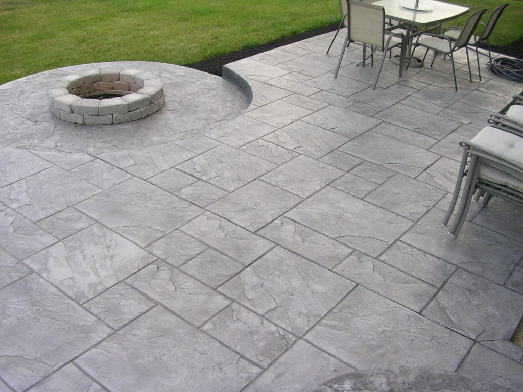 Brushed Backyard Stamped Concrete Patio Ideas Design Idea And