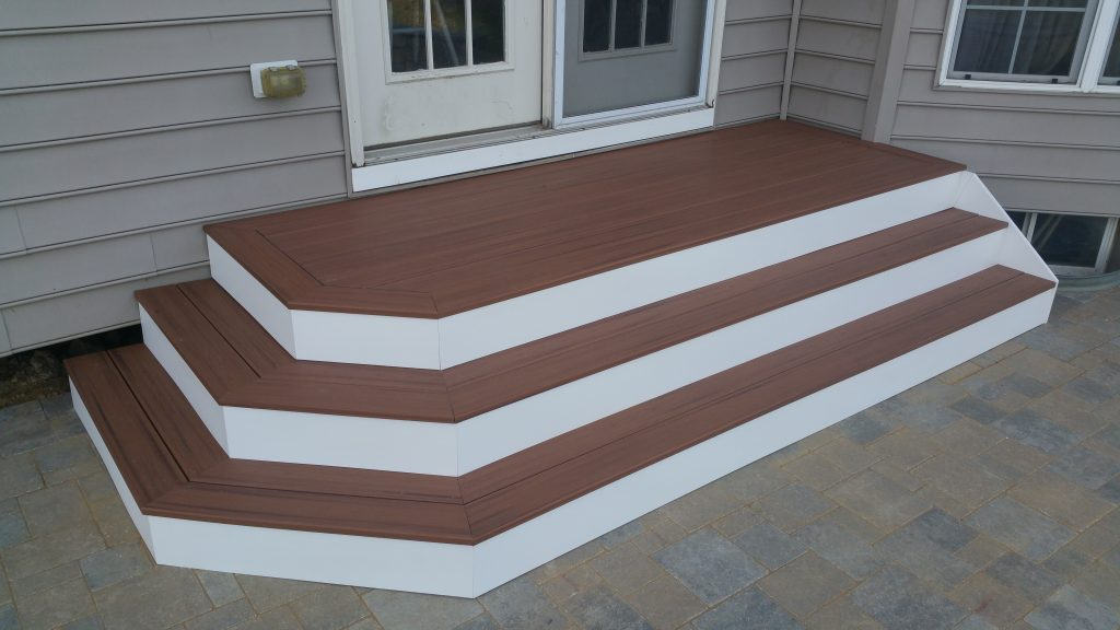 Building Composite Deck Stairs Trex Landing Cascading Steps White