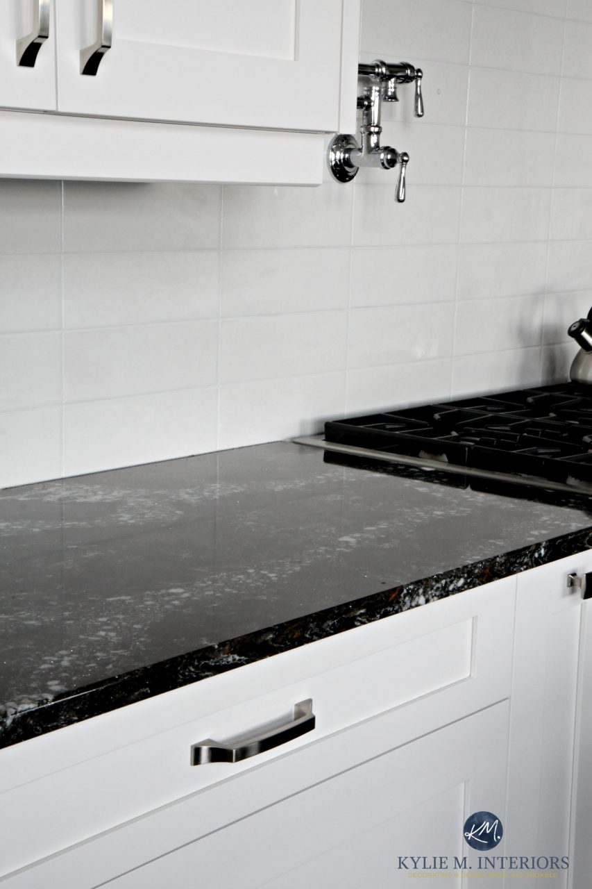 Cambria Ellesmere Black Quartz Countertop White Kitchen Cabinets