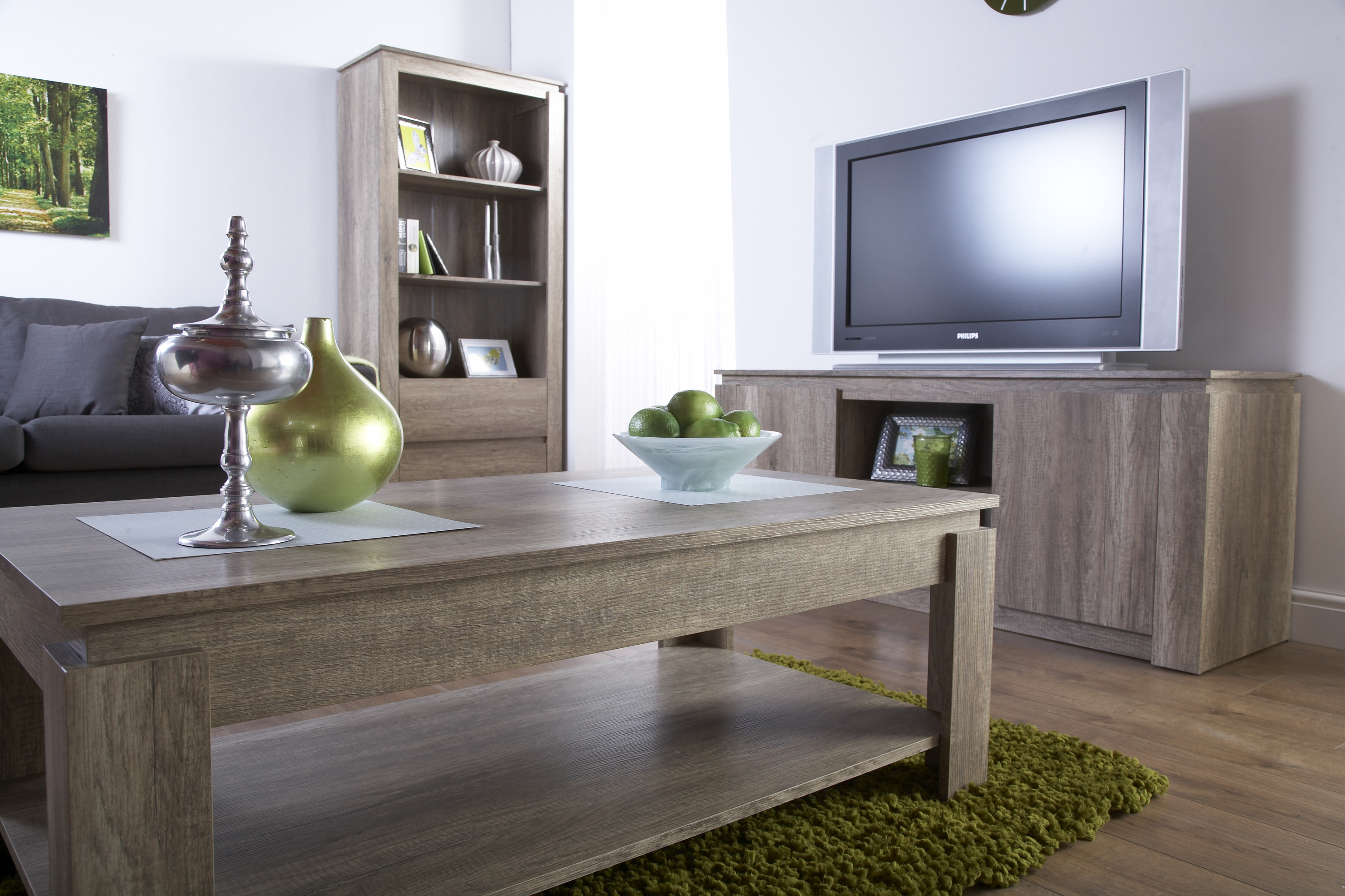 Canyon Dark Oak Living Room Furniture Storage Table Tv Unit