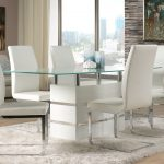 White Leather Dining Table and Chairs