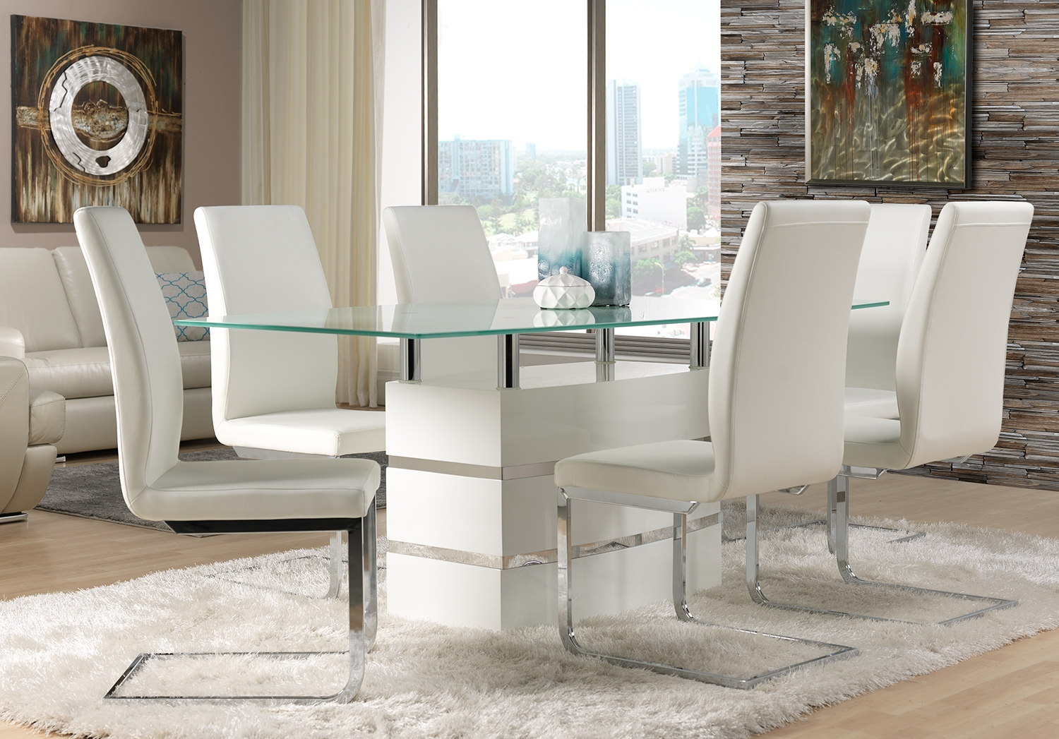 Chair Fabulous Glass Dining Table And White Leather Dining Chair